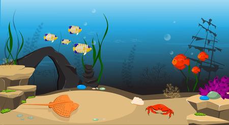 Underwater world background. Underwater landscape with sunken ship and marine life.
