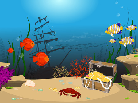 Underwater world background. Underwater landscape with sunken ship and treasure chest.