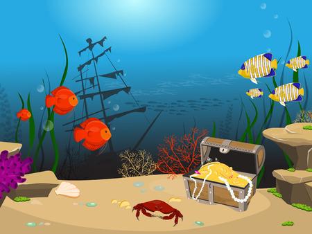 Underwater world background. Underwater landscape with sunken ship and treasure chest.