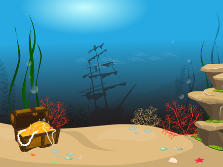 Underwater world background. Underwater landscape with sunken ship and treasure chest. Marine life and fauna.