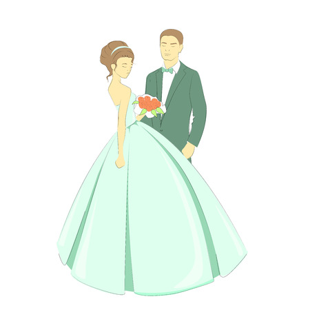 Bride and groom hand draw vector illustration. Newlyweds isolated. Illustration
