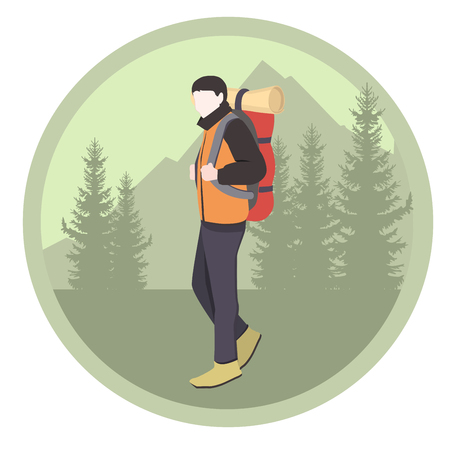 Camping equipment. Tourist. Camper man with backpack in forest. Illustration