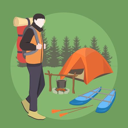 Camping-Ausrüstung. Tourist. Camper-Mann mit Rucksack im Touristenlager im Wald. Standard-Bild - 81364917