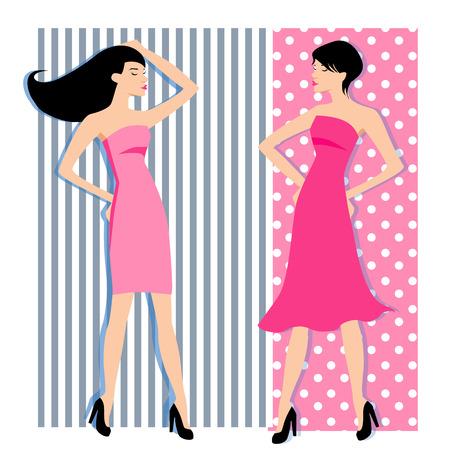 Fashion girls silhouettes.