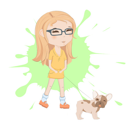 Cute girl with french bulldog on a background of blots. Child with dog vector illustration. Beautiful girl and pretty puppy cartoon character. Illustration