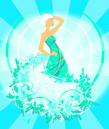 Fashion girl silhouette on abstract blue background. Illustration