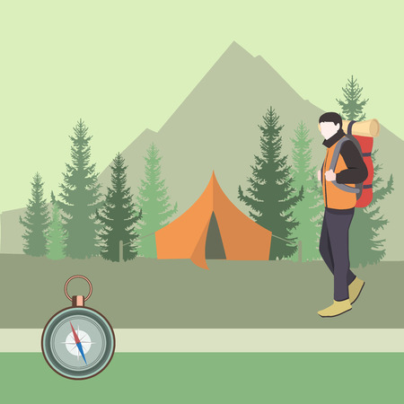 Camping equipment. Tourist. Camper man with backpack in tourist camp in forest. Illustration