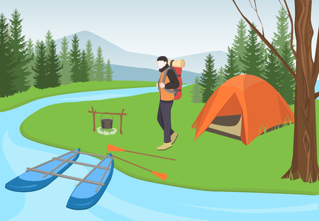 Camping equipment. Tourist. Camper man with backpack in tourist camp in forest near river.