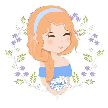 Recht rothaariges Mädchen mit einem Blumenstrauß der Blumenvektorillustration. Portrait einer schönen Frau mit einem Spucken eines Blumenstraußes der Kamille. Standard-Bild - 81548759