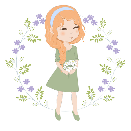 Pretty red-haired girl with a bouquet of flowers vector illustration. Beautiful woman with spit holds a bouquet of chamomiles.