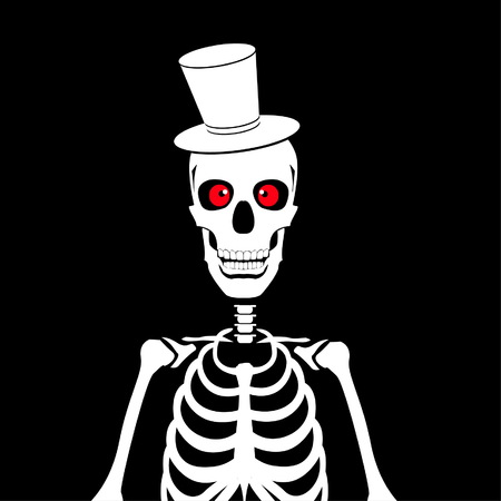 Skeleton with hat and red eyes vector illustration