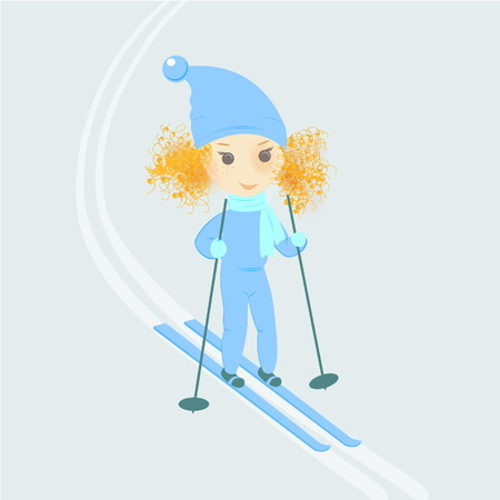winter road: Skier girl cartoon character vector illustration