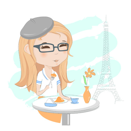 Pretty girl having breakfast in a street cafe in Paris hand drawing vector illustration.
