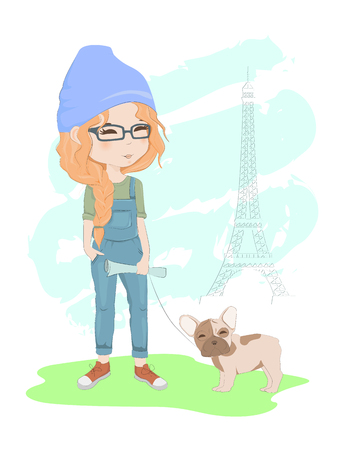 Pretty red-haired girl with a french bulldog in Paris vector illustration. Beautiful woman walking near Eiffel tower with dog.