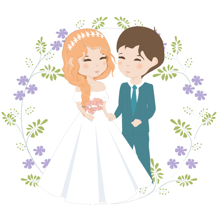 Bride and groom hand draw vector illustration. Newlyweds cartoon characters on floral background.