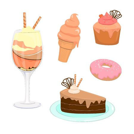 Set of delicious sweets and desserts. Confectionery cake, cupcake, whipped cream, donut and ice cream set of vector graphics objects isolated.