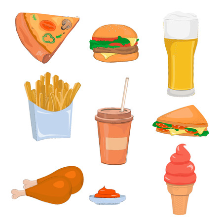 Cartoon fast food colorful illustrations set. Beer, coffee, burger, pizza, chicken legs, french fries and sandwich. Illustration