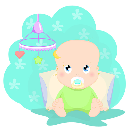 Cute baby playing with toy in bed cartoon character vector illustration. Kid sitting and looking at baby mobile.