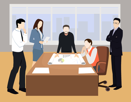 Business characters. Working people, meeting, teamwork, conference table, brainstorm. Workplace. Office life. Flat design vector illustration. Illustration
