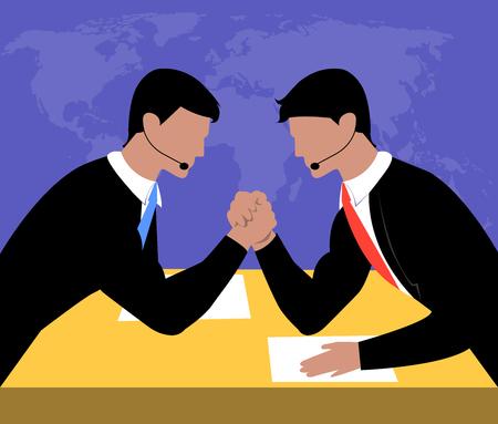 Armwrestling. Business concept vector illustration. Businessmen are struggling. Competition in business. Illustration