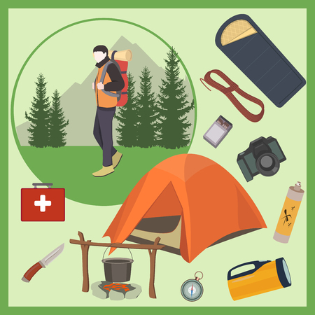 bowler hat: Vector man with set of camping elements. Camping equipment. Tourist. Camper.