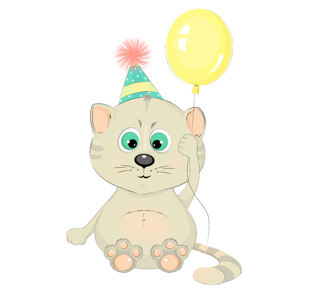 Cute cat with a balloon cartoon character vector illustration. Pretty kitten.