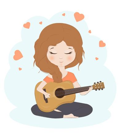 Hübsches Mädchen spielt die Gitarre Cartoon Charakter Vektor-Illustration. Nettes Kind mit Gitarre. Standard-Bild - 83158212