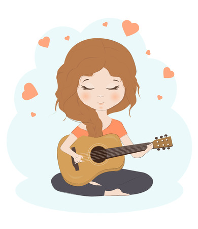 Pretty girl playing the guitar cartoon character vector illustration. Cute child with guitar.