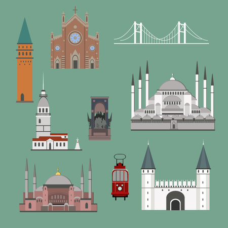 Cartoon Turkey symbols and objects set: Saint Sophie Cathedral, Maidens Tower, Palace of Topapa, Galata Tower, Bridge of Bosporus, Republic Monument, Saint Anthonys Church. Istanbul architecture.