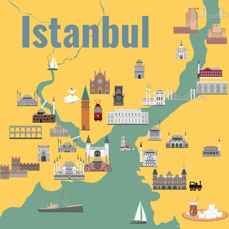Map of the historical center of Istanbul with sights. Illustration