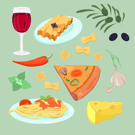 Italian cuisine. Italian food set: pizza, cheese, olive, pepper, pasta, mint, garlic, cheese, lasagna, glass of red wine. Cartoon food vector illustration. Illustration