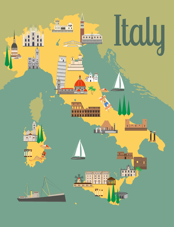Italy travel map with sights flat style vector illustration. Popular buildings for tourists.