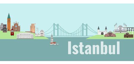 Panorama von Istanbul flache Stil Vektor-Illustration . Istanbul Architektur . Cartoon Türkei Symbole und Objekte Standard-Bild - 83158215