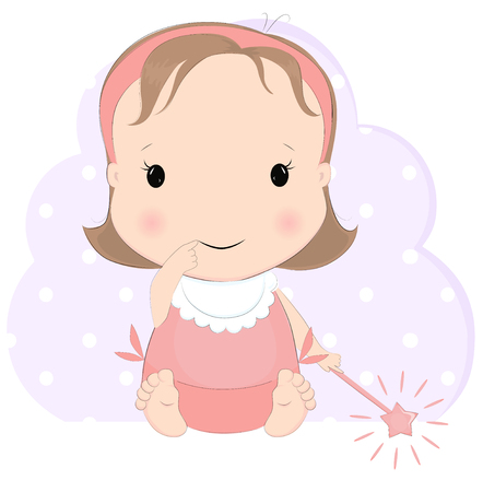 Cute baby girl with magic. Pretty sitting kid cartoon character vector illustration. Little princess.