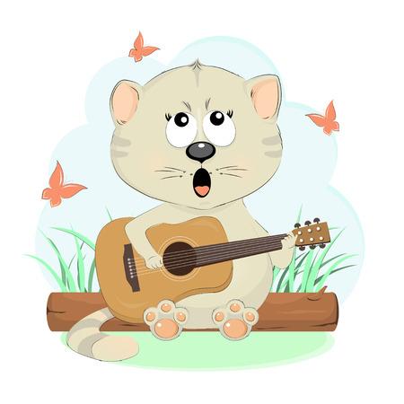 Nette Gesangkatze mit einer Gitarrenzeichentrickfilm-figur-Vektorillustration. Hübsches Kätzchen singt eine Gitarre auf einem Baumstamm. Standard-Bild - 83158218