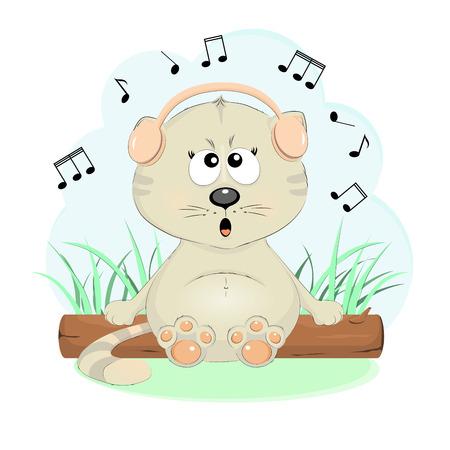 Nette singende Katze Cartoon-Figur Vektor-Illustration. Hübsches Kätzchen im Kopfhörer sitzt auf einem Baumstamm. Standard-Bild - 83158220