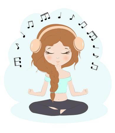Musik-Vektorillustration des hübschen Mädchens hörende Schönheit in den Kopfhörern, die in einer Yogahaltung sitzen. Standard-Bild - 83158224