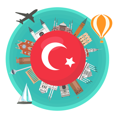 Famous landmarks of the flag of Turkey. Turkish attraction. Travel and tourism. Illustration