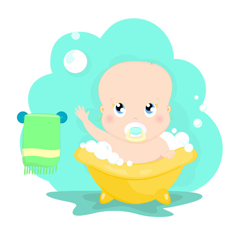Cute baby plays with soap bubbles while bathing cartoon character vector illustration. Kid wash in bathroom. Ilustracja