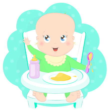 Cute baby eating porridge with a spoon in high chair. Illustration