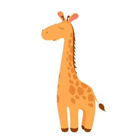 Giraffe withe closed eyes cartoon character. Funny giraffe isolated on white. African fauna. Giraffe icon. Wild animal illustration.