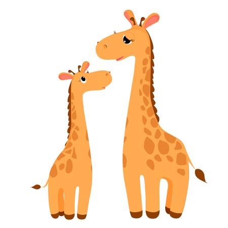 Giraffes family cartoon character. Funny giraffes isolated on white. African fauna. Giraffe icon. Wild animal illustration. Illustration