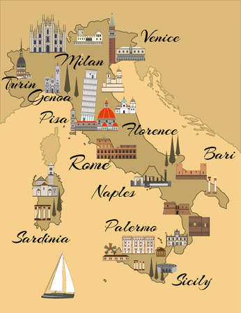Italy travel map with sights flat style illustration. Popular buildings for tourists. Imitation of an old map with indication of large cities. Italian map.