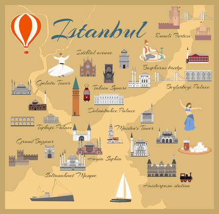 Map of the historical center of Istanbul with sights. Popular buildings for tourists. Tourism and travel.