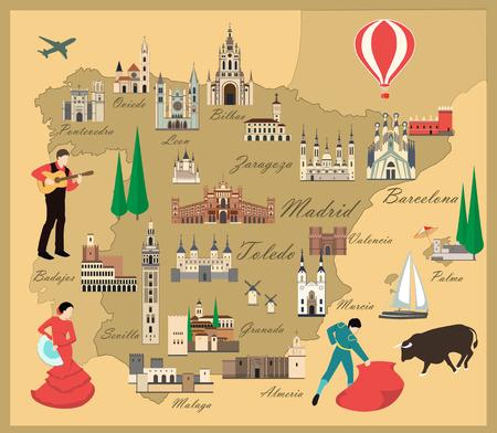 España mapa de viajes con vistas plana estilo ilustración. Edificios populares para turistas. Mapa español. Turismo y viajes. Ilustración de vector