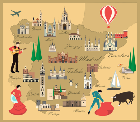 sights: Spain travel map with sights flat style illustration. Popular buildings for tourists. Spanish map. Tourism and travel.