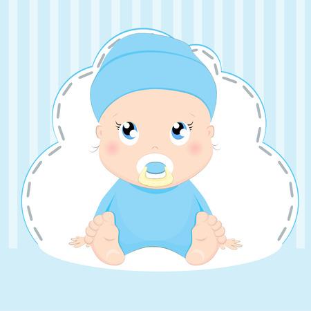 Cute baby boy card design on blue background.