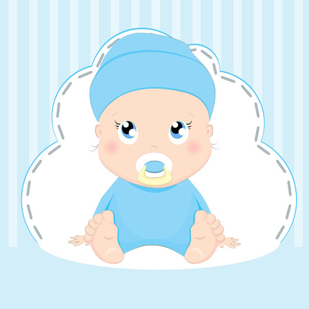 Cute baby boy card design on blue background.