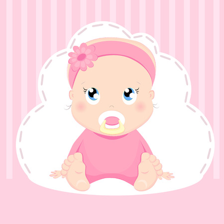 Cute baby girl card's design. Pretty girl sitting on a pink background.