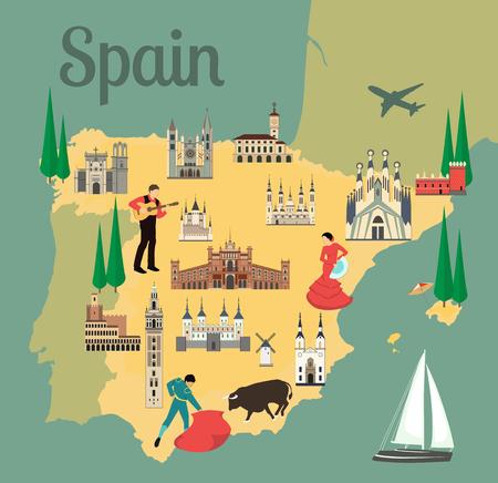 명소 플랫 스타일 벡터 일러스트와 함께 스페인 여행지도. 관광객을위한 인기있는 건물. 스페인어지도. 관광 및 여행. 일러스트